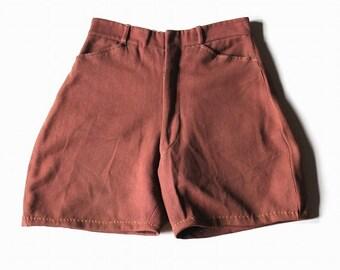 French vintage short jodhpurs/France 1950's/red/wool cotton/remake/hand stitch/198