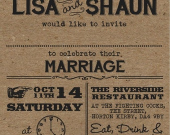 50 Retro Moustache & Lips Kraftcard Wedding Invitations