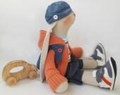 "Stuffed toy cloth bunny Oliver Art doll OOAK 18""46cm Rabbit toy Handmade soft toy big bunny boy tilda doll Home Decor kids orange blue white"