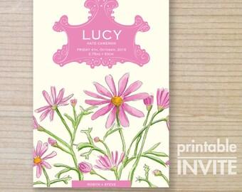 birth announcement - baby girl - printable card - daisy flower - birth thankyou