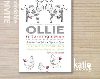 farm invitation - kids invitation  - printable invitation - little farmer party - cows - chickens - boys invitation