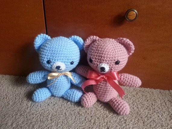 Amigurumi crochet stuffed blue bear pink bear&pastel bear