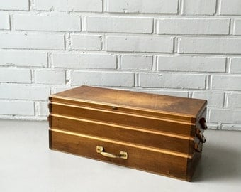 Vintage sewing box, sewing table, wooden box, mid century accessories, sewing accessories, storage