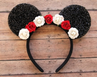 Flower Mickey Ears, Floral Mickey Ears, Christmas Mickey Ears, Holiday Mickey Ears, Flower Mouse Ears, Disney Ears, Disneyland Ears, Ears