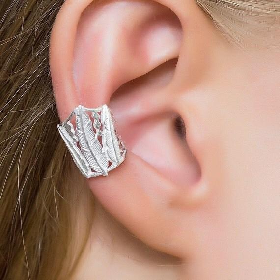 Feather Ear Cuff. silver ear cuff. feather earrings. cartilage cuff. ear cuffs earring. ear cuff silver. tribal ear cuffs. ear wrap. boho.