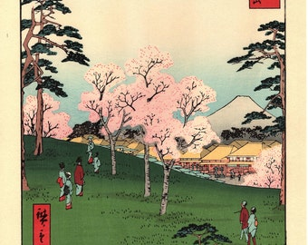 "Woodblock print, Japanese Ukiyoe, Hiroshige, ""Asuka Hill in Edo"", Thirty-six Views of Mount Fuji ."