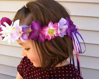 Girls Flower crown, Easter Hair accessories, Easter gift, Floral crown, Flower girl hair, Easter outfit, Purple flower crown, Floral Hair