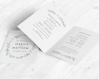 Folded Wedding Program in Letter or A4 Printable- Modern Botanical Wedding Program - Ready to Print PDF- Letter or A4 Size (Item code: P271)