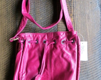 Soft English Lambskin Leather Handbag Purse in Plum - Made in Canada - New with Tag - 1980s - Marquis of London
