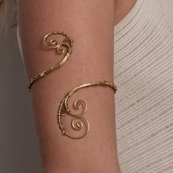 Arm Cuff Jewelry: Women Birthday Gifts Brass Arm Band Upper Arm Bracelet Small