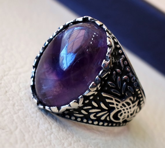 amethyst agate natural purple stone sterling silver 925 man