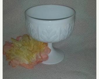 Vintage FTD Milk Glass Footed Compote, Circa 1978,  Vintage Milk Glass,  Pedestal Candy Dish, Wedding, Centerpiece,Shower, Milk Glass
