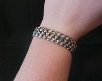 Vintage Silver Textured Metal Stretch Bracelet Japan