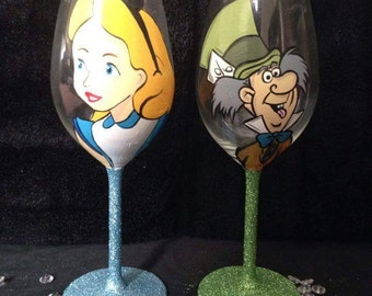 Alice in wonderland hand painted glass