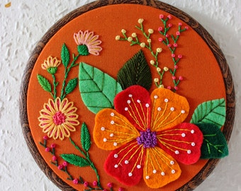 Embroidered Hoop Art , Embroidery Hoop Wall Decor, Wall Hanging, Flowers, Summer, Hand embroidered Wall Art, Orange