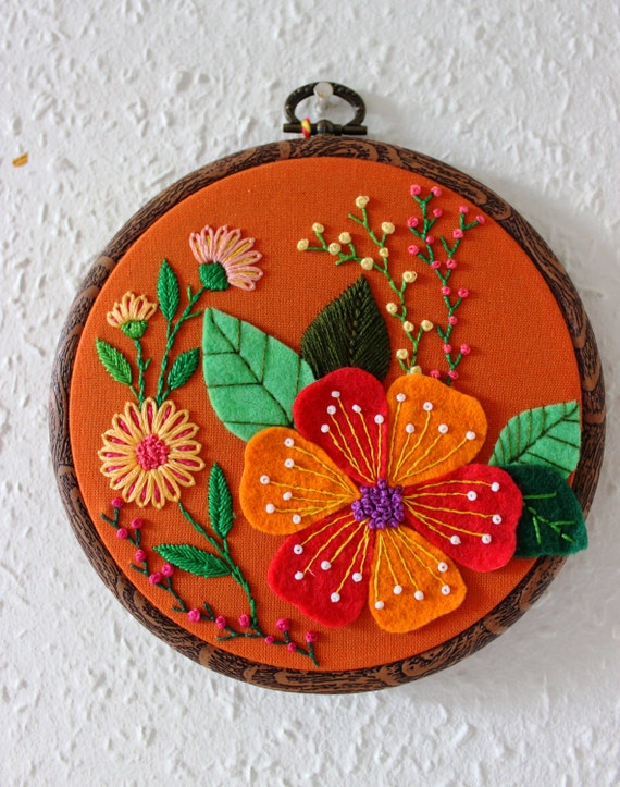 Embroidered hoop art embroidery wall decor
