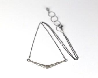 pave diamond chevron necklace pave diamond oxidized silver boho layering necklace
