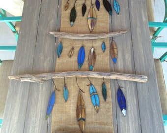 Stained Glass Feathers on Driftwood by CambriaBella