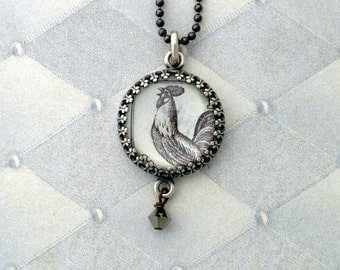 Vintage Postage Stamp Jewelry: Rooster Too Pendant Necklace