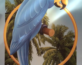 MIKE PATRICK Blue Parrot Lounge,Print on Metal Sheet,Blue Bird,Wall Decor,Hotel Decoration,Bar Art,Buffet Decoration,Restaurant Decoration