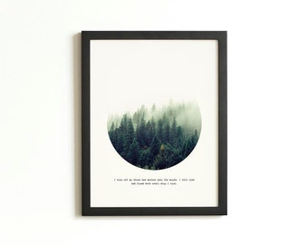 Forest Print | Geometric Circle Print | Woodland Wall Art | Quote Print