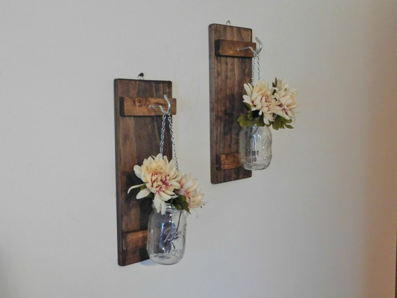 Wall Sconces For Flowers : Hanging Mason Jar Wall Sconce Flower Vase Candle by TwinOakRustics