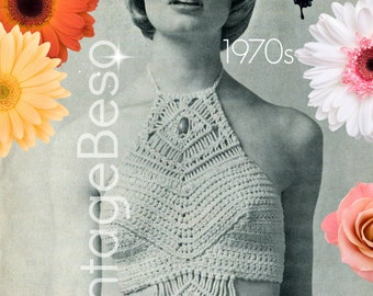 PdF Pattern • Ladies Halter Top Pattern • INSTANT DOWNlOAD • 1970s CROCHET Pattern and MACRAME Pattern • Halter Top Crochet Top VintageBeso