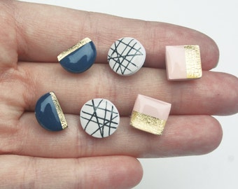 Soft pink and Navy Blue Gold Accent Stud Set, Geometric Earring set of 3, Modern Gold foil Stud Earrings, Nickel Free hypoallergenic studs