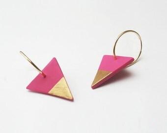 Hot Pink Earrings, Triangle Earrings, Modern Jewelry, Gold Dipped, Statement Earrings, Polymer Clay Nickel-Free Earrings, Edgy Jewelry