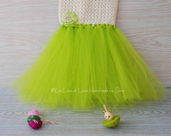 Dress for little girl or baby girl crochet with tulle