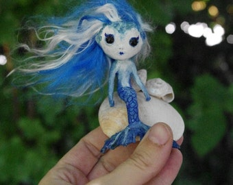 OOAK - Handmade doll Blue Mermaid. Little fantasy Art Doll. Paper mache, paper clay and natural sea shells. Little Mermaid.