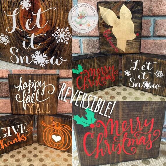 Fall Christmas Reversible Wood Block Set Fall Sign Christmas