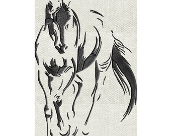Graceful Horse sketch - EMBROIDERY DESIGN file - Instant download Exp Jef Vp3 Pes Dst Hus formats - 2 sizes one color