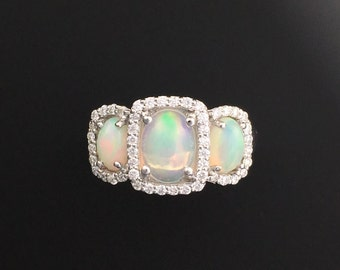 Three (3) Oval Opal & Diamond Engagement Ring - 18K White Gold - Affordable and Alternative Engagement Ring - October Birthday Birthstone