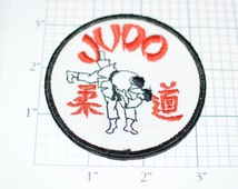 JUDO Martial Arts Vintage Embroidered Sew-On Clothing Patch - Black Border - f1n Free Shipping