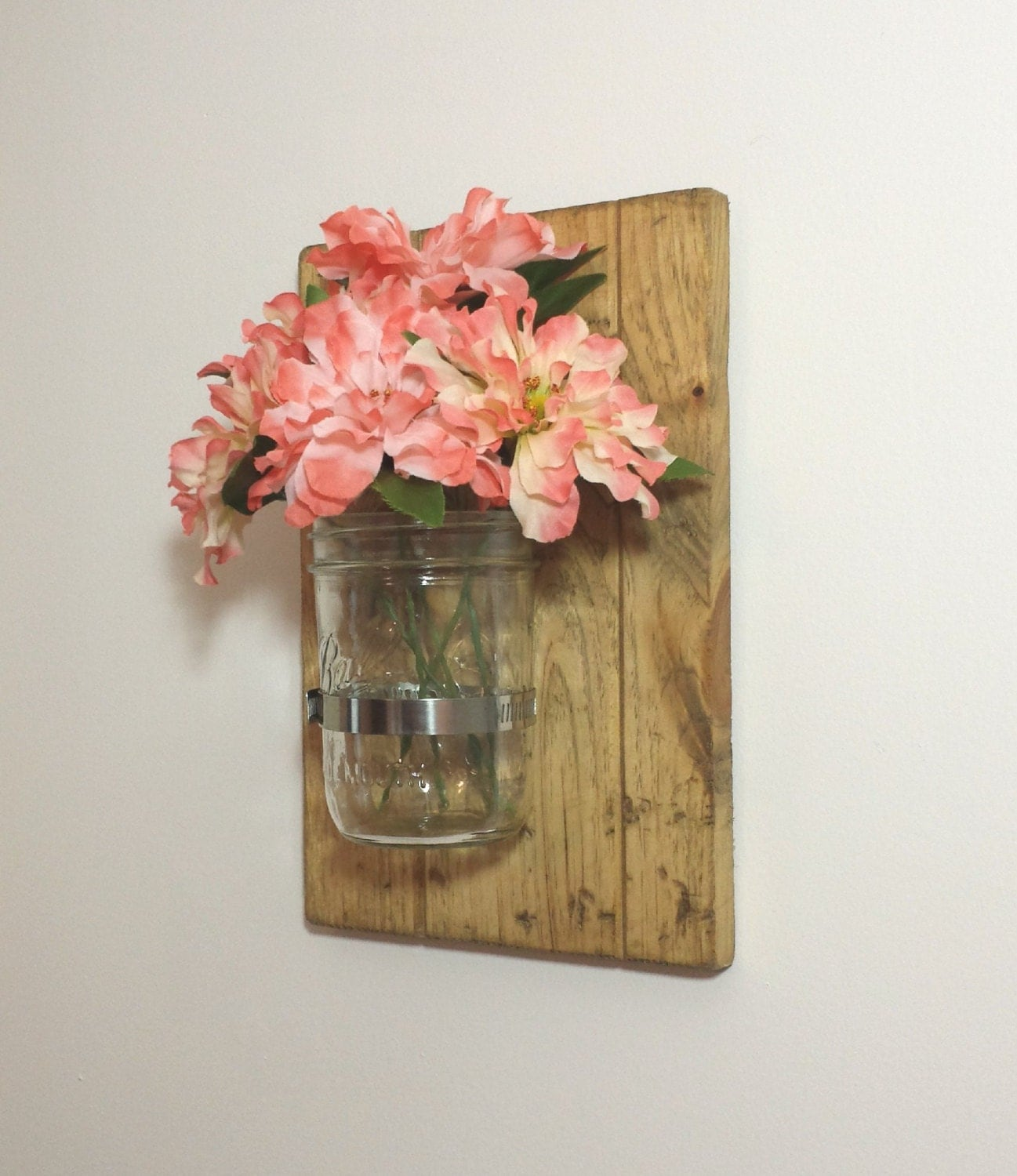 Wall Decor With Mason Jars : Set of mason jar wall decor distressed rustic