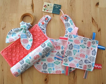 Baby Girl Gift Set - Gems / Jewels / Diamonds - Bib, Burp Cloth, Crinkle Teether w/ Maple Teething Ring, & Crinkle / Sensory Toy w/ Ribbons