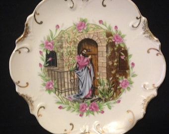 Vintage Jesus Plate Jesus Knocking Porcelain Japan Decorative Easter Plate with 18K Gold Trim White with Pink Flowers Collectible Plate