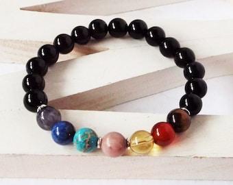 7 Chakra bracelet with obsidian. Genuine natural stone stretch bracelet. Healing energy wrist mala to balance and align the chakras.