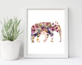 Nursery Wall Art, Nursery Decor, Elephant Nursery Print, Boho Nursery Decor, Baby Girl Printable, Wall Art, Boho Art, Floral Elephant, Print