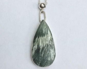 Seraphinite silver pendant/silver seraphinite necklace/set stone silver pendant/hallmarked seraphinite pendant/hand set seraphinite pendant