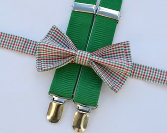 Plaid Bow Tie & Green Suspenders -- Boys Birthday Outfit