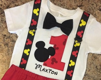 Birthday Mickey Mouse Shirt ONLY with suspenders, bow tie, number and optional name