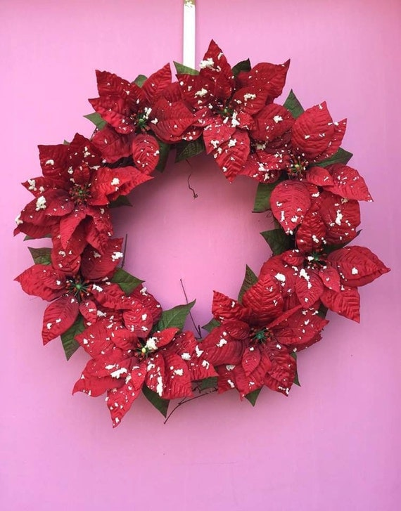 Poinsettia wreath red christmas wreath red poinsettia decor for 5ft poinsettia garland christmas decoration