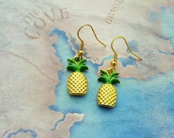 Pineapple Earrings, Fruit Earrings, Gold Pineapple Charm, Tropical Jewelry, Pineapple Jewellery, Cute Earrings, Gold Earrings, Cute Jewelry