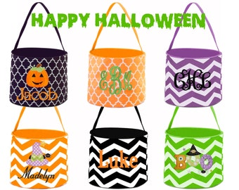 Embroidered Halloween Buckets - Monogrammed Halloween Bucket - Personalized Children's Halloween Bucket -