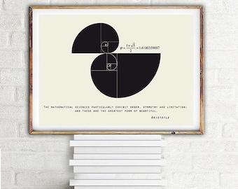Fibonacci spiral Aristotle quote Science art poster, horizonal print, Scandinavian design Math art 100x70, 70x50, A4
