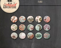 Digital flairs instant download, digital scrapbooking embellishments, vintage sea creatures clipart, ocean life buttons fish seahorse coral