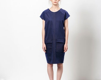 Dark Blue Dress, Navy Dress With Pockets, Midnight Blue Dress, Dress With Pockets
