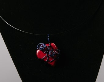 Pink Stone Wire Wrapped Pendant